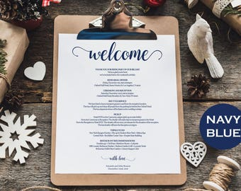 Wedding Itinerary Printable - Navy Wedding - Wedding Favor - Welcome Letter - Wedding welcome bag note - Downloadable wedding #WDH812110