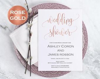 Bridal Shower Wedding Template - Rose Gold Wedding - Bridal Shower Invitation - Wedding Shower Invitation - Downloadable wedding #WDH302_8