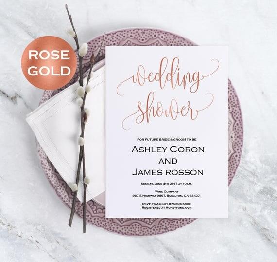 Rose Gold Wedding Bridal Shower Invitation
