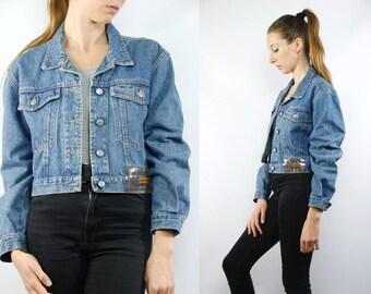 Cropped Jean Jacket / Cropped Denim Jacket / Carrera Denim Jacket / Designer Jacket / Blue Denim Jacket / 90s Denim Jacket / 90s Jean Jacket