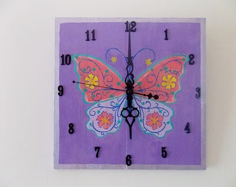 30 x 30 Wall Clock, Butterfly, Spring Wall Clock, Girls Room Decor, Easter Gift, Personalized Clock, Hand Painted Wooden Clock, Spring Gift