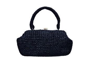 Elegant blue bag vintage baguette clutch rafia straw raffia 50s pin up pinup burlesque chic sac tasche borsa handbag deep hobo shopper