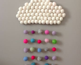 Decoration mural/mobile cloud colorful felted wool balls