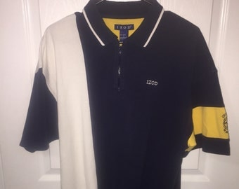 Color blocked  off shore racing izod  zipper polo size large