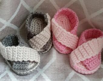Crochet Cross Strap Sandals - Infant - Baby