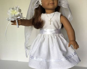 """Holy Communion Outfit for American Girl Doll and 18"""" Dolls"""
