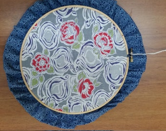 1940s Feedsack, print cloth ruffled hoop, hanging