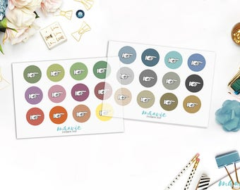 Colorful big and small dots with hands, transparent stickers