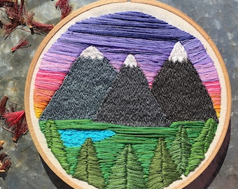 "6"" Sister Mountains Embroidery Hoop Wall Art"