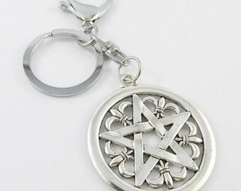 Wicca Pentagram Charm Keychain Keyring 110mm (C2596/KCF026)