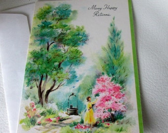 Vintage Unused Birthday Card with Impressionist Artwork, Wishing Well, Many Happy Returns, Coronation Collection