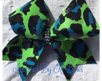 Bright animal print cheer bow