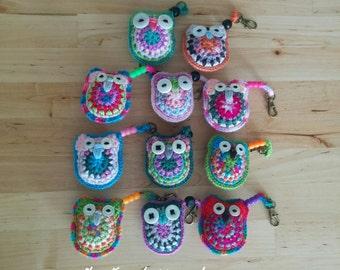 Crochet Owl Bag Charm / Key Ring Accessory