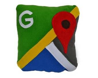 12 x 12 google maps pillow - handmade pillow - decorative pillow - geekery pillow