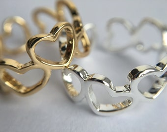 Open Heart Bubble Ring *Cut Out Silver Gold Simple Minimalist Dainty Cute Gift Jewellery*