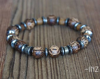 Bracelet man in exotic wood, pyrite and hematite 10mm INZ - I - model FRED