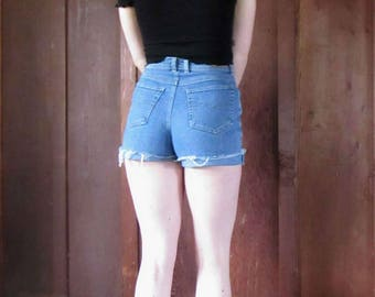 Gloria Vanderbilt 26 /2  High Waist 1980s Cut Off Stretch Shorts XS