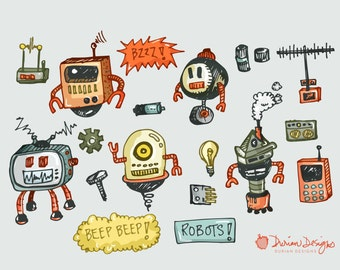 Robot clipart commercial use, hand drawn robots clip art, kawaii, remote control, machine doodles, technology kids instant download