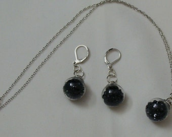 Wish Vial Earring and Necklace Set Filled with Black Rhinestones