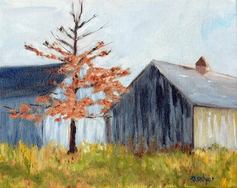 Late Autumn Plein  Air Oil Painting