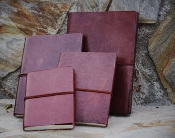 Leather Travel Journal – Handmade Bound Notebook – Leather Travel Sketchbook - Refillable Journal