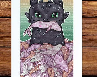 Toothless Art Print // How to train your dragon