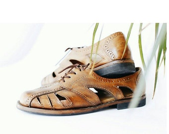 Oxford sandals-leather shoes-handmade shoes-oxford-custom shoes-sandals-tobacco-womens oxford shoes-mens oxford shoes