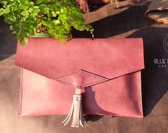 Leather clutch with tassel
