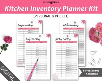 Kitchen Inventory, Fridge Inventory, Freezer Inventory, Pantry Inventory, Meal Planning, Personal Planner Insert, Pocket Planner Insert