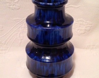 """Vase Scheurich """"Pagoda"""" cobalt blue #267-20 / / made in West Germany - West Germany"""