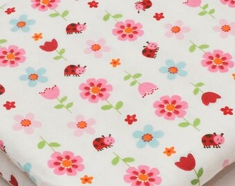 Cute Children's Girls' Brushed Cotton Fabric Pink Red Flowers Ladybird