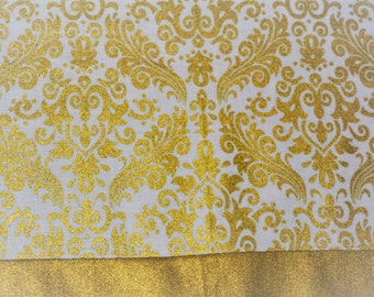 Christmas table runner  Holiday table runner  White and gold table runner  Bling  Glam