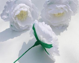 3 white paper peonies, white flower bouquet, wedding peonies, Home decoration, flower arrangement, artificial flowers, paper flower bouquet