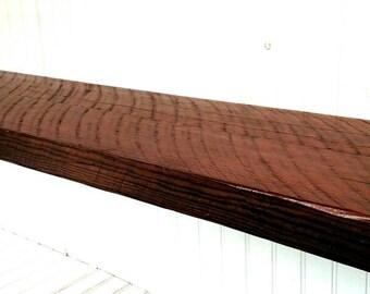 "Reclaimed rough sawn hemlock 12"" mantel style floating wall shelf hardware included"