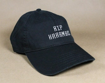 RIP HARAMBE Black Pink White Dad Hat Dad Cap Baseball Hat Baseball Cap Embroidered Low Profile Casquette Strap Back Adjustable Cotton
