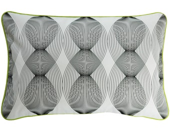Cushion cover GRAPHIC LINES, white / black, 60 x 40 cm (without filling)