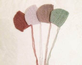 Crochet mohair yarn bonnet hat for baby.Photography props.