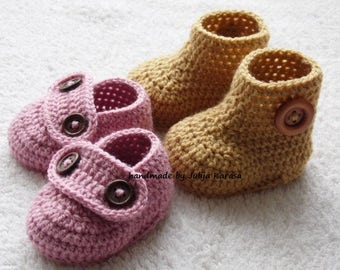 Handmade baby booties and shoes, crochet baby boots, baby shower gift, crochet baby shoes, two pair set, newborn booty, baby loafers