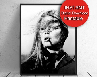 Smoking Bardot Print Printable Brigitte Bardot Digital Download Fashion Wall Art Movie Actress Poster Reproduction