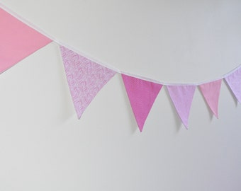 Fabric Baby Bunting, Pink Girl Bunting, Pink Nursery Decor Flag Decoration, Banner, Girl Baby Shower, Birthday Party, Baby Girl, extra long