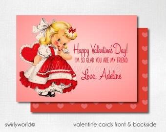 Vintage Girl Valentine Cards, Digital Printable 1950s Little Girl Valentine Card, Digital Valentine Cards, Retro Girls Valentine DIVAL88