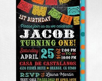 Papel Picado Paper Flags Fiesta Birthday Invitation, Mexican Fiesta Invitations, Printed Fiesta Paper Flags Birthday Invites, DI-594FC