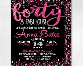 Printed Pink and Silver Glitter Forty and Fabulous Invitations, 40 and Fabulous Birthday, 40th Theme, 40 & Fabulous Invitations, DI-446FC