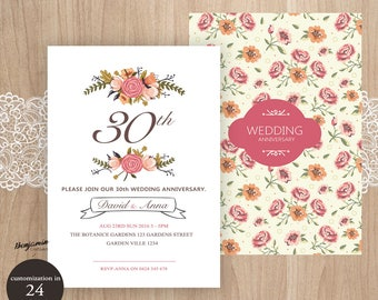 Wedding Reception Invitation. Watercolor flowers and branches. Two-sides.White background.Customized.Printable Digital.<25>