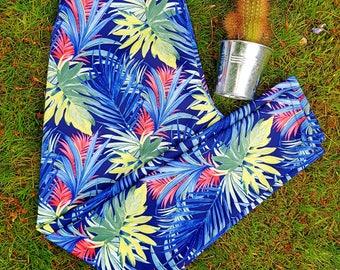 LILY Palm Leaf Leggings Navy, Tropical Print, Tropical Leggings, Printed Leggings, Workout Leggings, Green Leggings, Blue Leggings, Hiking,
