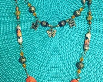 Butterfly-and-Ladybug Multi-Strand Necklace