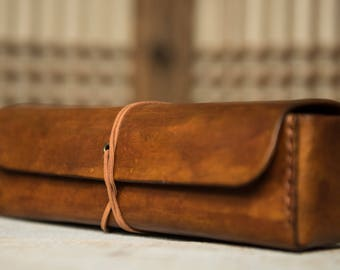Leather tool box Handmade Antique Brown Minimalist Tool Box Tools bag with Big Capacity of Practical Tools for Crafters and Artists