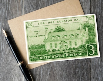 Gunston Hall, Mount Vernon, George Mason, US history, US gift cards, vintage gift cards, American gift cards, US postage stamps, stamp art