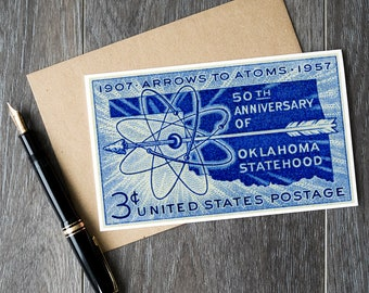 Oklahoma, Oklahoma cards, Oklahoma gifts, Oklahoma art, Oklahoma posters, Oklahoma prints, Oklahoma statehood, Arrows to Atoms, 1950s art