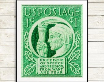 USA protest poster, freedom of speech poster, freedom of religion poster, lady liberty poster, statue of liberty poster, vintage USA poster